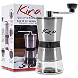 Manual Coffee Grinder with Stainless Steel Conical Grinding Burr. Hand Crank Coffee Bean Mill or Spice Grinder. Portable. Lifetime Warranty. 15 Adjustable Settings for Precision Brewing. By Kina