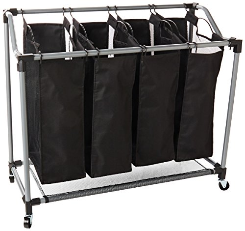 Laundry Sorter Deluxe - Honey-Can-Do Quad Laundry Sorter with Mesh Bags, Steel/Black
