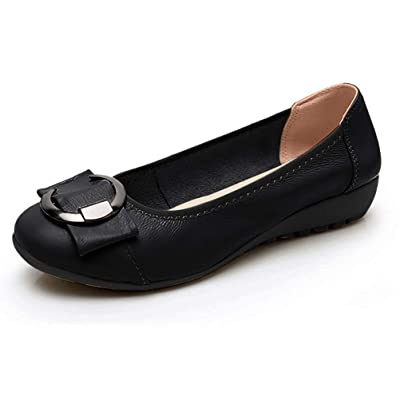 Women's Genuine Leather Comfort Ballet Flats Slip On Dress Shoes | Flats