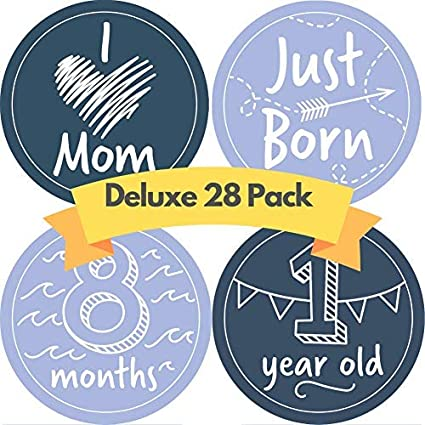 JubyJoy Baby Boy Milestone Stickers - 28 Monthly Photo Picture Props for  Infant, 1st Year Birth Month Onesie Belly Decals - Best Registry Shower  Gift