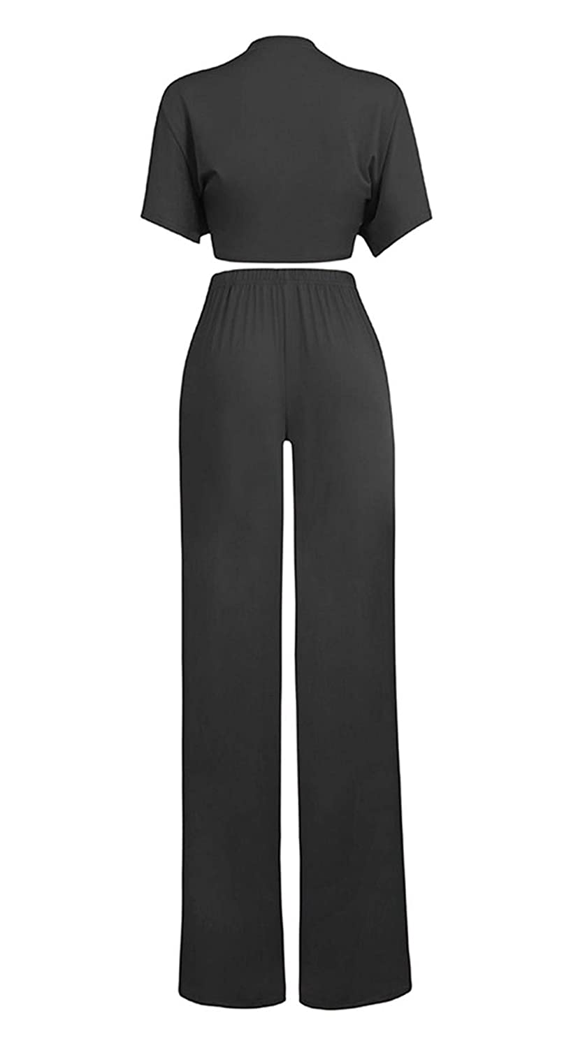 10370a41561 Amazon.com  Women s One Two Piece Outfits Set Solid Tie Knot Front Crop Top  Wide Leg Flare Pants Plus Size  Clothing