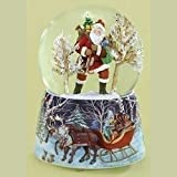 """Santa with Christmas Presents in Snowy Woods Music Snow Globe Glitterdome - 6"""" Tall 100MM - Plays Tune It Came Upon A Midnight Clear"""