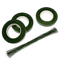JUSLIN 3 Rolls 1/2 Inch Premium Floral Tape Stem Wrap & 50 Pcs 16 Inch Floral Stem Wire