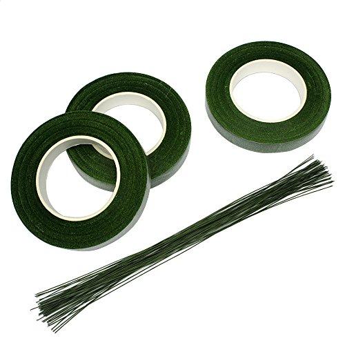 Floral Stem Wire (JUSLIN 3 Rolls 1/2 Inch Premium Floral Tape Stem Wrap & 50 Pcs 16 Inch Floral Stem Wire)