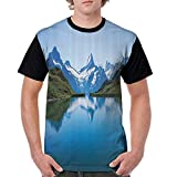 Baseball Tee Shirt,Apartment Decor Collection,Famous Majestic Snowy Peaks in Northern Europe Like Pyramids Made by High Hills Alps,Blue Green S-XXL Women Short Sleeve T-Shirt