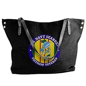 U.S. Navy Seabees Vietnam Veteran Women Canvas Shoulder Bag Handbags Tote Bag Casual Shopping Bag by Smiley World