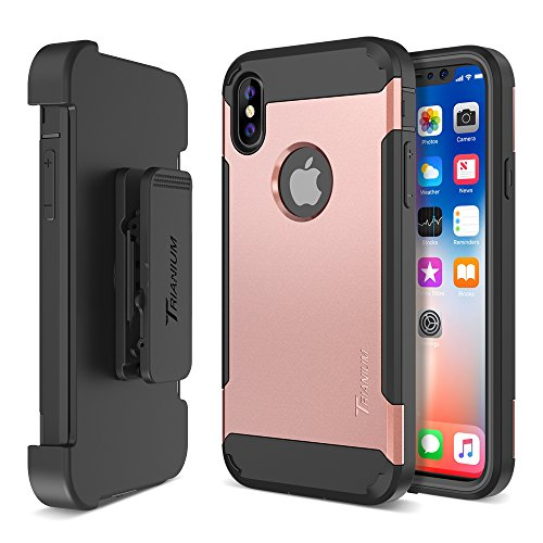 Trianium Duranium Holster Case Compatible with iPhone Xs & iPhone X Case (5.8 Phone ONLY) [Heavy Duty Full-Body Protection] Built-in Screen Protector/Belt Clip Holder with Kickstand - Rose Gold