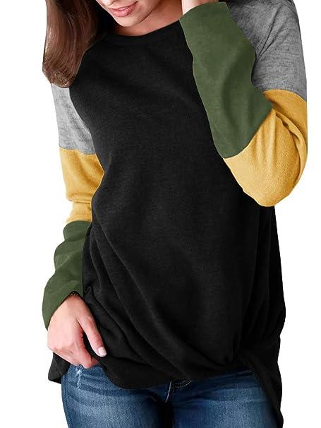 d75de84a59 Coutgo Womens Striped Mutil Color Block Long Sleeve Tunic Tops Loose Fit Tunics  Sweatshirt Tops (