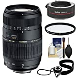 Tamron 70-300mm Di LD Macro Zoom Lens with Hood 2x Teleconverter (= 140-600mm) + UV Filter + Accessory Kit for Canon EOS 6D, 70D, Rebel T3, T3i, T4i, T5, T5i, SL1 Digital SLR Cameras