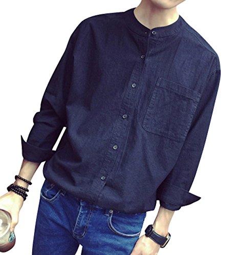 ワックス代数的パワー(リスキス) riskiss メンズ 長袖 コットン カジュアル バンドカラーシャツ 白シャツ 大きめ ビックサイズ 襟なし 黒 白 M L XL