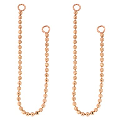 Amazoncom Automic Gold Solid 14k Rose Gold Bead Chain Earring