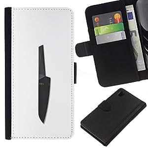 JackGot ( Cuchillo Negro Chef Blanca Cocina ) Sony Xperia Z1 L39 la tarjeta de Crédito Slots PU Funda de cuero Monedero caso cubierta de piel