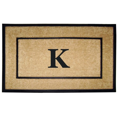 - Nedia Home Single Picture Black Frame with Coir Rubber Border Dirt Buster Doormat, 30 by 48-Inch, Monogrammed K