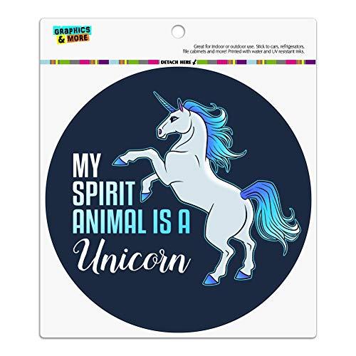 (GRAPHICS & MORE My Spirit Animal is a Unicorn Automotive Car Refrigerator Locker Vinyl Circle Magnet)