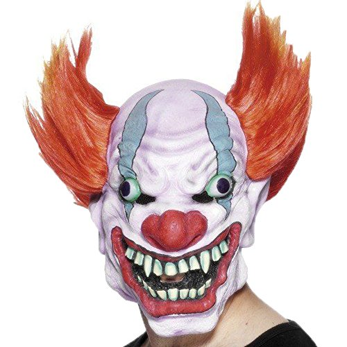 [XIAO MO GU Latex Halloween Party Cosplay Face Mask Adult Scary Clown Costumes Mask With Hairs] (Twisty The Clown Costume Mask)