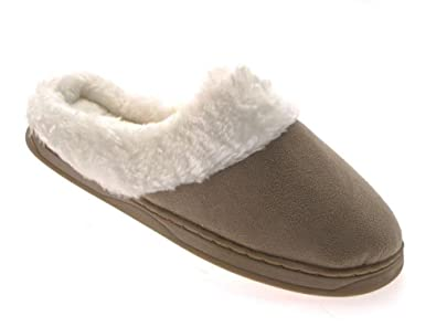 WOMENS SLIPPERS MULES SLIP ONS / or SHORT ANKLE BOOTS WARM COMFORTABLE LADIES  FAUX FUR LINED SIZE UK 3 - 8: Amazon.co.uk: Shoes & Bags