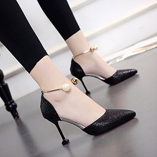 SDKIR-Cat and the women shoes wild fine with the high-heel shoes summer sexy pointed sandals Pearl women shoes 39 black