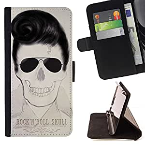 Momo Phone Case / Flip Funda de Cuero Case Cover - Elvis rollo de la roca estrella del cráneo Cool Music - Motorola Moto E ( 1st Generation )