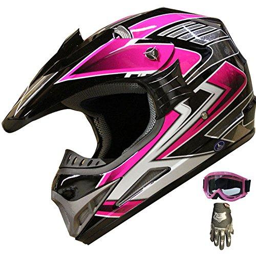 Mx Combo Box (ATV Motocross Helmet Off Road Dirt Bike Helmet Combo 189 pink+gloves+goggles (M))