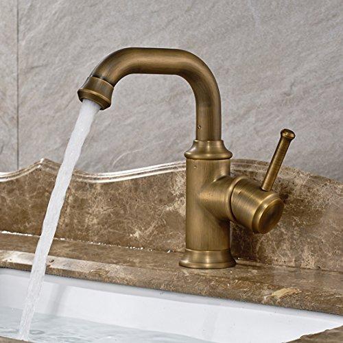 Modern Antique Brass Finish Deck Mount Bahtroom Basin Mixer Taps ...