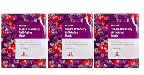 Price comparison product image Leaders Cosmetics Insolution 7 Wonders Tundra Cranberry Anti-Aging Mask (Pack of 3) with Sugar Maple Extract, Witch Hazel Water, Matricaria Flower Extract and Coconut Fruit, 1 ct.