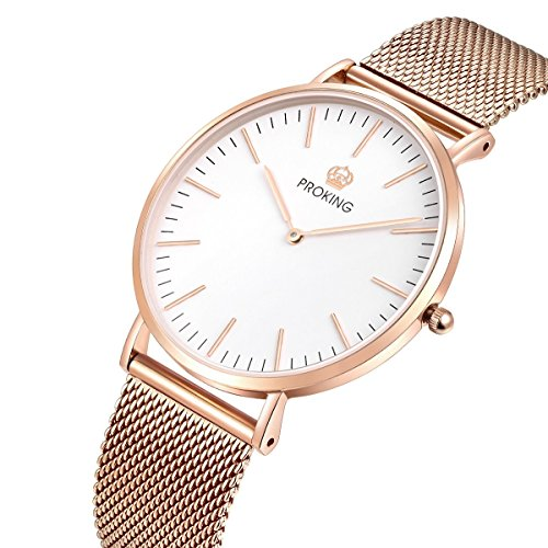 Stainless Steel Sapphire Crystal - Ladies Fashion Watch,PROKING Womens Ultra Thin Waterproof Rose Gold Stainless Steel Dress Elegant Sapphire Crystal Wrist Watch(White Dial)