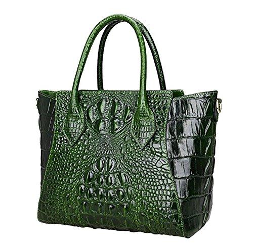 Jsix Damen Krokodil-Muster Schultasche Lehrertasche Umhängetasche Leder-Tasche Business Grün Dg8cTzHHS