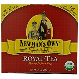 Newman's OwnOrganics Royal Tea, Organic Black Tea, 100 Individually Wrapped Tea Bags, 7.05 Ounce Boxes 102 USDA Organic, QAI certified organic Quality fit for a King Paul Newman has given over $200 Million to thousands of charities worldwide since 1982