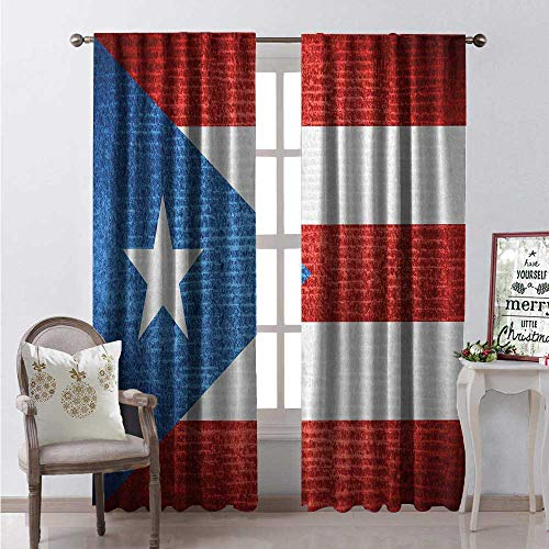 Hengshu Puerto Rico Window Curtain Drape Stripe Style Rows Pattern Grunge Arrangement Patriot Flag Customized Curtains W96 x L84 Blue Vermilion and White