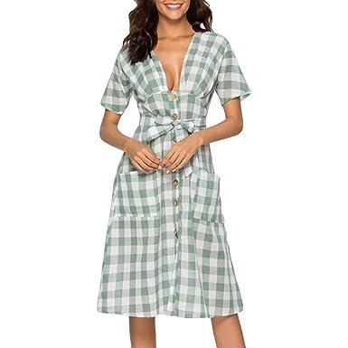 ae7564e0e2d Amazon.com  Quelife Women Dress Casual Lattice Print v-Neck Button Belt  Ladies Short Sleeve Dress Skirt About Knee  Clothing