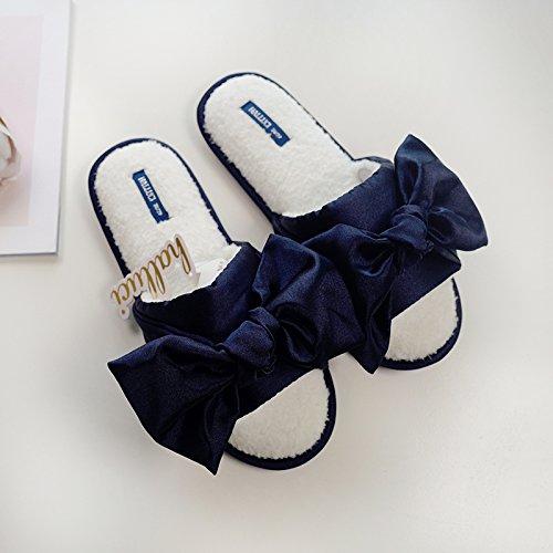 Fleece Memory Winked Blue Halluci House Non Women's Foam Eye w Satin Navy Slip Slippers Cozy Soles Plush xwAY4qXY