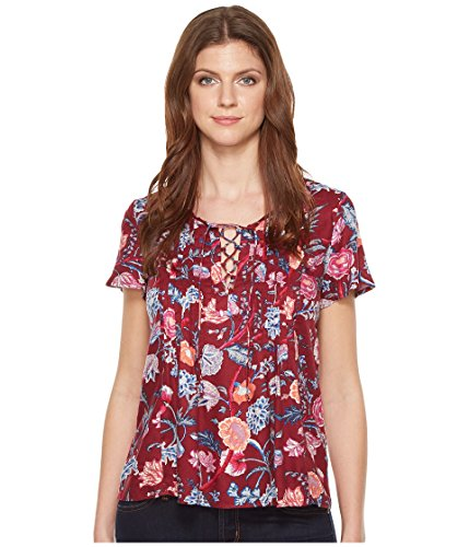 - Lucky Brand Women's Red Floral Peasant Top, Multi, X-Small