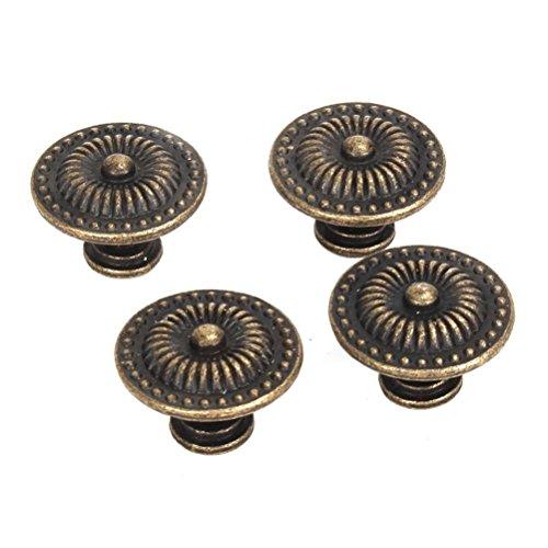 WINOMO 4pcs Vintage Knob Cabinet Cupboard Drawer Pull Handle Knob with Screws (Bronze)