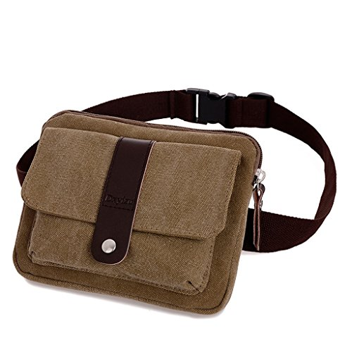 ENKNIGHT Small Canvas Multiple Pocket Adjustable Fanny Pack Travel Waist Bag Hip Purse Belt Bag Bum Bag Coffee]()