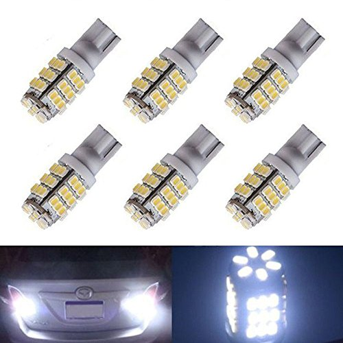 XT AUTO 6pcs Super Bright Cool White T10 Wedge 42-SMD 3528 LED Light bulbs W5W 2825 158 192 168 194 for Car Boot Trunk Map Light Number Plate License Light
