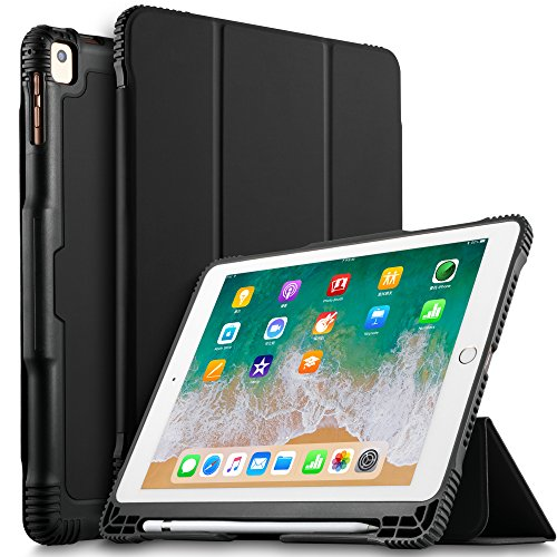 IVSO New iPad 9.7 2018 Tablet Case, Lightweight Smart Case Trifold Cover Stand with Pencil Holder Auto Sleep/Wake Function for New iPad 9.7 2018/2017/ iPad Pro 9.7 /iPad Air 2/ iPad Air Tablet(Black)
