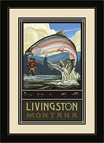Northwest Art Mall PAL-1626 MFGDM RTFH Livingston Montana Rainbow Trout Fisherman Hills Framed Wall Art by Artist Paul A. Lanquist, 13 by - Livingston Mall