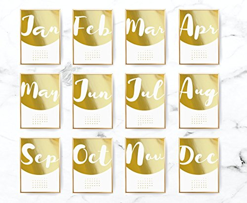 2018 Desktop Half Circle Calendar, 2018 Calendar, Wall Hanging, Real Gold Foil, Card Stock Paper, Handmade Paper, Modern Art, Christmas Gift by Lovely Decor
