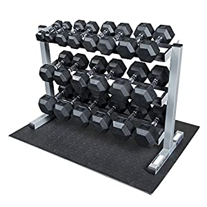 Body Solid GDR363 RFWS Dumbbell Rack with Rubber Dumbbells