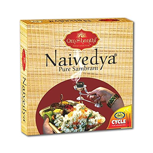 Cycle Naivedya Sambrani with Resin, Benzoin Fragrances – Pack of 4 (12 Cups per Pack)