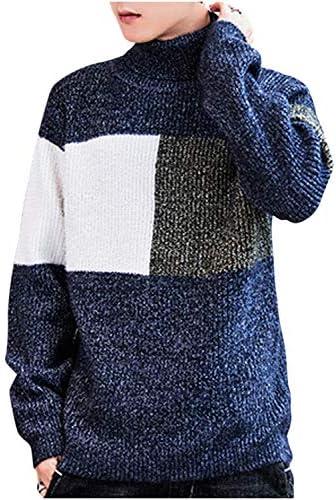 デザインニット セーター バイカラー マルチカラー ハイネック カジュアル オシャレ M ~ 2XL メンズ