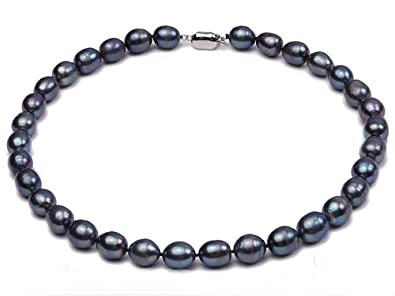 f4c2a6d7fb18f JYX 10-11mm Black Oval Cultured Freshwater Pearl Necklace 18