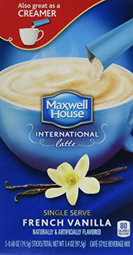 Maxwell House International Coffee French Vanilla Latte Singles, 3.4-Ounce Boxes (Pack of 8)