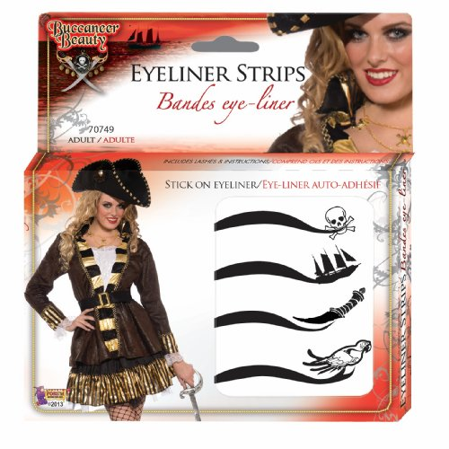 [Forum Novelties Women's Beauty Adhesive Eyeliner Strips Kit, Multi, One Size] (Buccaneer Beauty Costume)