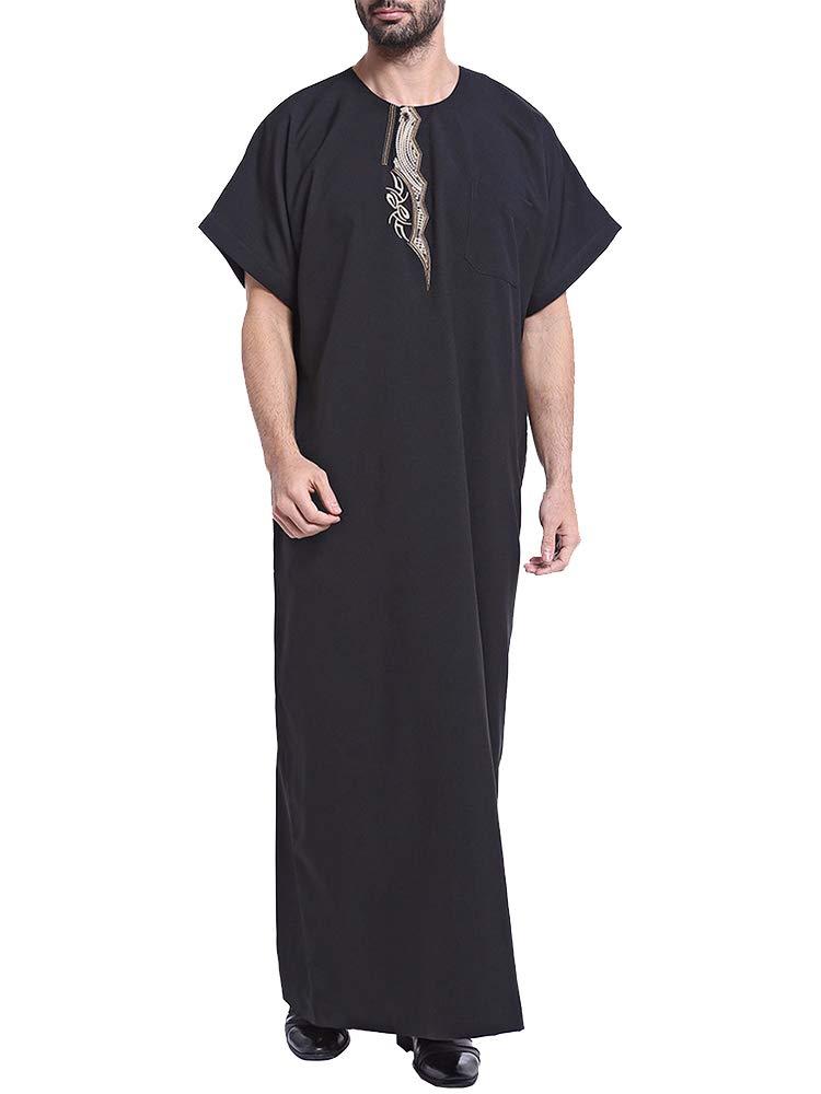 Men/'s Saudi Thobe Robe Islamic Muslim Jubba Arabic Kaftan Abaya Dress Costumes