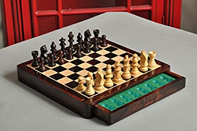 "WOODEN MAGNETIC Travel Chess Set - 10"" Square by The House of Staunton"