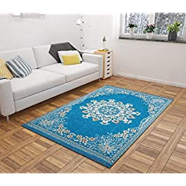 REVIVE Home Velvet Touch Bedroom, Hall, Living Room, Drowing Room Abstract Chenille Carpet – |60″ inch x 84″ inch | 5 Feet x 7 Feet | Sky Blue