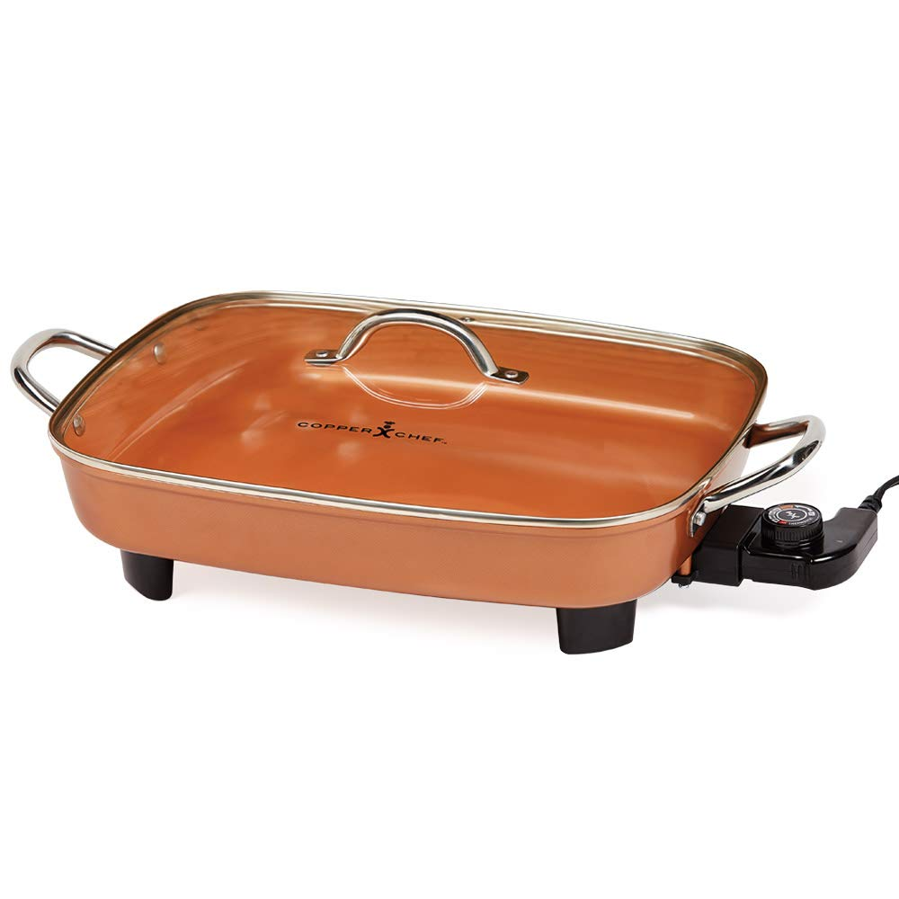 Copper Chef Deluxe 16'' Electric Skillet with Stainless Steel Handles- Buffet Server - For Steaming, Sauteing or Frying