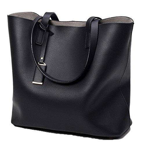 AalarDom Women's Casual Compras Pantalón Tote-Style Microfibra Bolsas de Mano Negro