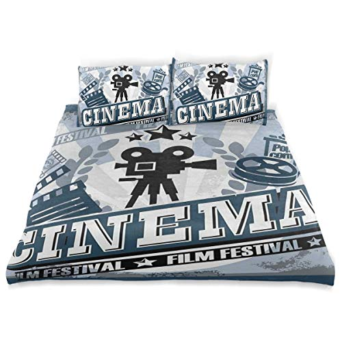 - MIGAGA Duvet Cover Set, Movie Theater Twin Vintage Cinema Poster Design Grunge Effect and Old Fashioned Icons Blue Black Gre Print, Decorative 3Pc Bedding Sets with 2 Pillow Shams King Size